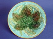 Lovely George Jones Majolica 'Maple Leaf and Fern' Pattern 2584 Plate c1870